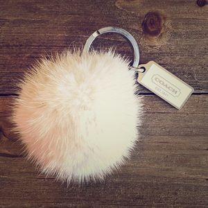 Rare COACH Mink Fur Fob / Keychain - White